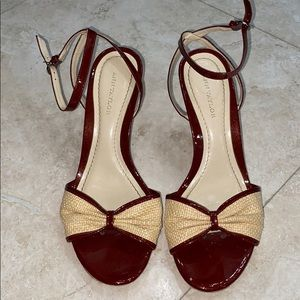 Ann Taylor Red Patent & Woven Leather Heels